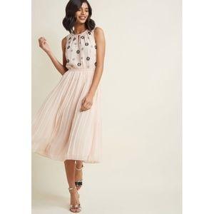 ModCloth | Embellished Chiffon Midi Beaded Dress L